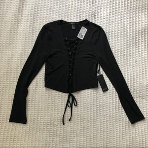 NWT Forever 21 Black long sleeve lace up crop top